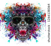 colored skull of punk with... | Shutterstock . vector #1266138364