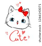 Stock vector hand drawn cute cat and bow design print for t shirt vector illustration handwritten cute 1266143071