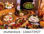 cheese mozzarella  processed... | Shutterstock . vector #1266172927