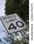 speed limit 40 sign | Shutterstock . vector #1266174274
