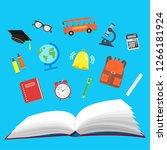 school. open book and school...   Shutterstock . vector #1266181924
