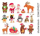 christmas forest animals set in ... | Shutterstock .eps vector #1266194527