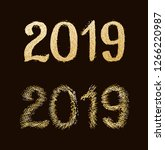 new year 2019. golden text with ...   Shutterstock .eps vector #1266220987