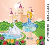 beautiful princess and swan in... | Shutterstock .eps vector #1266231661