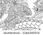 figure of zentangle chameleon... | Shutterstock .eps vector #1266240514