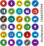 white solid icon set  cinema... | Shutterstock .eps vector #1266245344