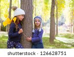autumn sister kid girls playing ... | Shutterstock . vector #126628751