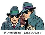 two secret agents whispering.... | Shutterstock .eps vector #1266304357