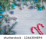 branch of a christmas tree  a... | Shutterstock . vector #1266304894