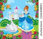 beautiful princess and swan in... | Shutterstock .eps vector #1266308851
