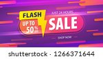 yellow pink tag flash sale 24... | Shutterstock .eps vector #1266371644