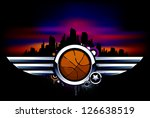 Sport background. Basketball with metal wings. Grunge style with graffiti elements. Vector illustration.