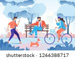 city park with relax people... | Shutterstock .eps vector #1266388717