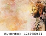 Bodhisattva Buddha watercolor combine with painting for art background and interior