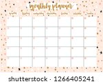cute monthly planner for 2019... | Shutterstock .eps vector #1266405241