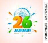 3d text 26 january with ashoka... | Shutterstock .eps vector #1266405361
