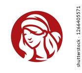 santa woman head silhouette sign | Shutterstock .eps vector #1266405571