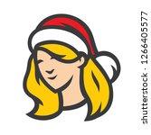 santa woman head sign | Shutterstock .eps vector #1266405577