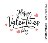 Stock vector happy valentines day typography poster with handwritten calligraphy text isolated on white 1266406261