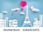 hot air balloon carrying love... | Shutterstock .eps vector #1266421651