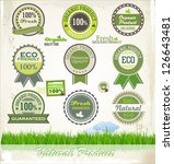 organic and eco badges and... | Shutterstock .eps vector #126643481