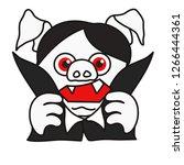 emoticon or emoji of vampire... | Shutterstock .eps vector #1266444361