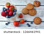 panakota with berries in a...   Shutterstock . vector #1266461941