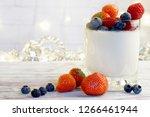 panakota in a glass beaker with ...   Shutterstock . vector #1266461944