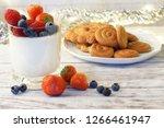 panakota with berries in a...   Shutterstock . vector #1266461947