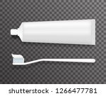 toothbrush tube of toothpaste... | Shutterstock . vector #1266477781