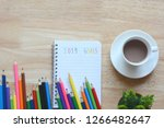 2019 goals on paper book and... | Shutterstock . vector #1266482647