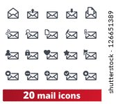 Email icons: vector set of envelope signs for web and applications