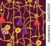textile print with golden... | Shutterstock .eps vector #1266515314