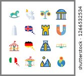 attraction icons set. nobody, states, urban and religious graphic works