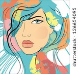 woman face and grunge vector... | Shutterstock .eps vector #126654095