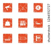 explanation icons set. grunge... | Shutterstock . vector #1266552727