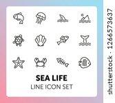 sea life line icon set. fish ... | Shutterstock .eps vector #1266573637