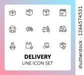 delivery line icon set. cargo ... | Shutterstock .eps vector #1266574531
