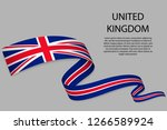 waving ribbon or banner with... | Shutterstock .eps vector #1266589924