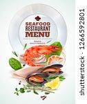 seafood restaurant menu... | Shutterstock .eps vector #1266592801