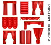 set of realistic luxury red... | Shutterstock .eps vector #1266592807