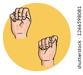 hand with fingers gestures ... | Shutterstock .eps vector #1266598081