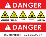 set of triangle yellow warning... | Shutterstock .eps vector #1266619777