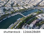 aerial view on river seine with ... | Shutterstock . vector #1266628684
