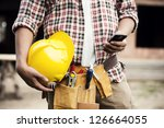 close up of construction worker ... | Shutterstock . vector #126664055