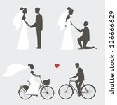 set of bride and groom poses... | Shutterstock . vector #126666629