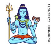 lord shiva sitting in lotus... | Shutterstock .eps vector #1266678751