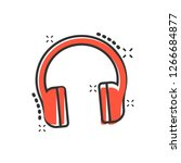 headphone headset icon in comic ... | Shutterstock .eps vector #1266684877