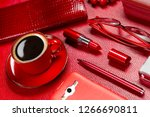 woman red accessories with... | Shutterstock . vector #1266690811