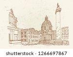 santa maria di loreto and ruins ... | Shutterstock .eps vector #1266697867